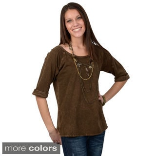 Journee Collection Women's Distressed Three-quarter Sleeve Top