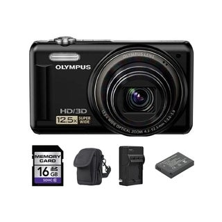 Olympus VR-330 14MP Black Digital Camera 16GB Bundle