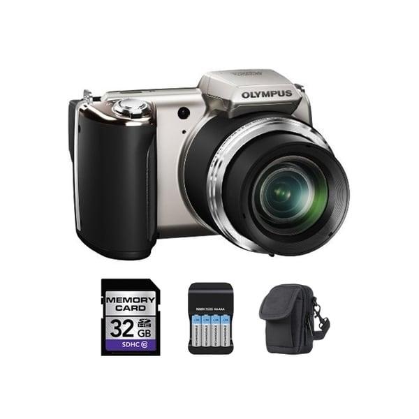 Olympus SP-620UZ 16MP Silver Digital Camera 32GB Bundle