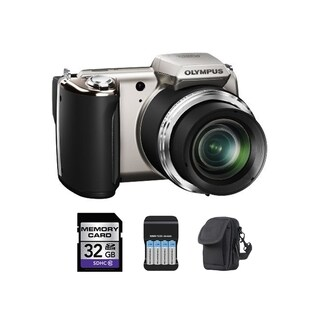 Olympus SP-620UZ 16MP Silver Digital Camera 32GB Bundle