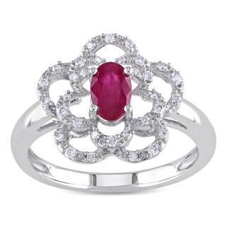 Miadora 14k White Gold Ruby and 1/6ct TDW Diamond Flower Ring (G-H, I1-I2)