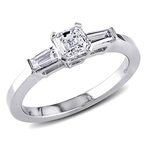 Miadora 18k White Gold 3/4ct TDW Asscher Diamond Ring (D-E, VS1-VS2)