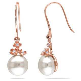Miadora 10k Rose Gold Pearl and Diamond Accent Dangle Earrings (10-11 mm)