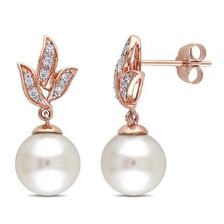 Miadora 10k Rose Gold Freshwater Pearl and 1/10ct TDW Diamond Earrings (H-I, I2-I3) (9-9.5 mm)