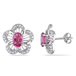 Miadora Sterling Silver Pink Tourmaline and 1/4ct Diamond Earrings (H-I, I2-I3)
