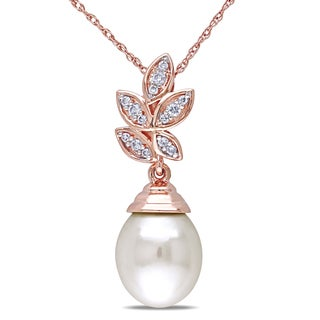 Miadora 10k Rose Gold Pearl and 1/10ct TDW Diamond Necklace (H-I, I2-I3)