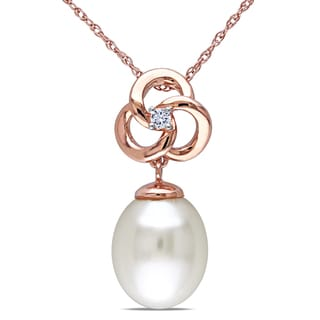 Miadora 10k Rose Gold Cultured Freshwater Pearl and Diamond Accent Necklace (9-9.5 mm)