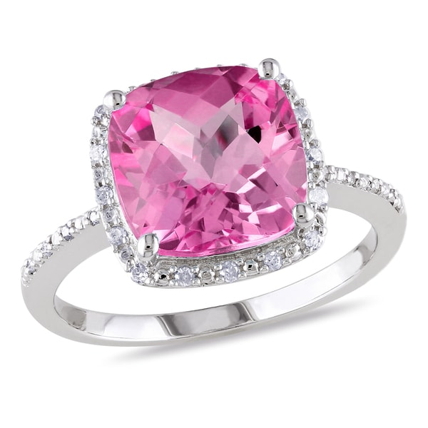 Miadora Sterling Silver Created Pink Sapphire and 1/10ct TDW Diamond Ring (H-I, I2-I3) 12989467
