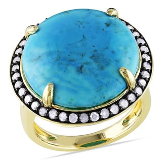 Miadora Yellow Plated Silver Turquoise and 1/2ct TDW Diamond Ring (I-J, I2-I3)