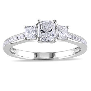 Miadora 14k White Gold 1ct TDW Radiant-cut Diamond Ring (G-H, I1-I2)