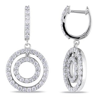 Miadora 14k White Gold 1 3/4ct TDW Diamond Circle Dangle Earrings (G-H, I1-I2)