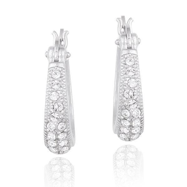 Crystal Ice Silvertone Crystal Hoop Earrings with Swarovski Elements
