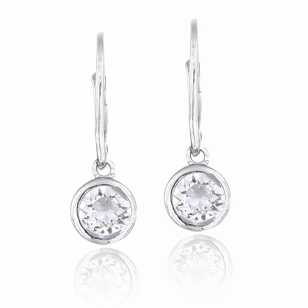 Crystal Ice Silvertone Crystal Round Leverback Earrings with Swarovski Elements 12488953