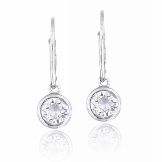 Crystal Ice Silvertone Crystal Round Leverback Earrings