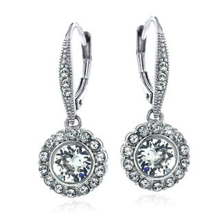 Crystal Ice Silvertone Crystal Halo Earrings