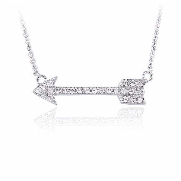 Crystal Ice Silvertone Crystal Arrow Necklace with Swarovski Elements