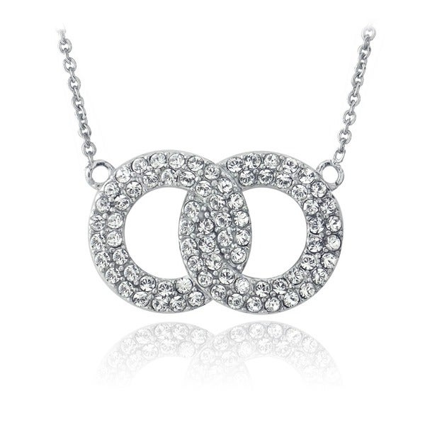 Crystal Ice Silvertone Crystal Interlocking Circles Necklace with Swarovski Elements