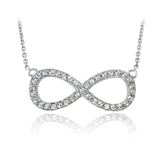 Crystal Ice Silvertone Crystal Infinity Necklace with Swarovski Elements