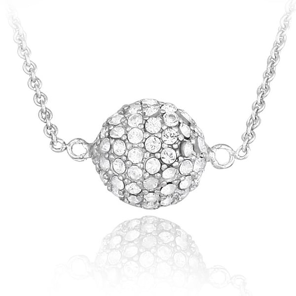 Crystal Ice Silvertone Ball Necklace