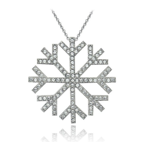 Crystal Ice Silvertone Crystal Snowflake Pendant Necklace with Swarovski Elements