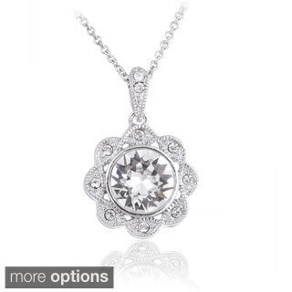 Crystal Ice Silvertone Crystal Halo Flower Pendant Necklace with Swarovski Elements