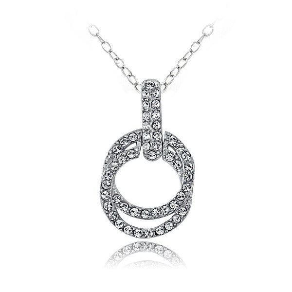 Crystal Ice Silvertone Crystal Double Circle Necklace with Swarovski Elements