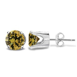 DB Designs 14k Gold 1/2ct TDW Yellow Diamond Round Stud Earrings (I2-I3)