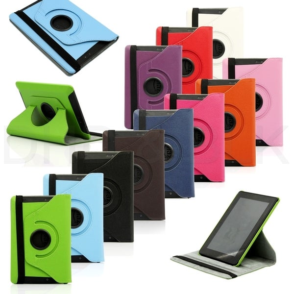 Gearonic Rotating PU Leather Case for 2013 Amazon Kindle Fire HDX 7-inch in Hot Pink (As Is Item) 25575294