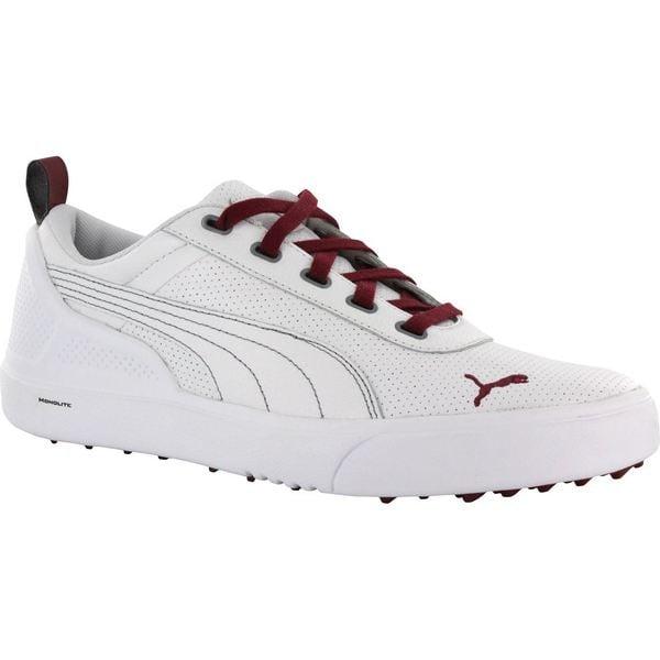 Puma Mens Monolite Spikeless White/ Pomegranate Golf Shoes