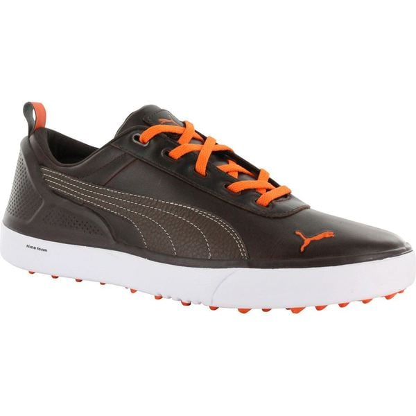 Puma mens Monolite Spikeless Black Coffee/ Vibrant Orange Golf Shoes