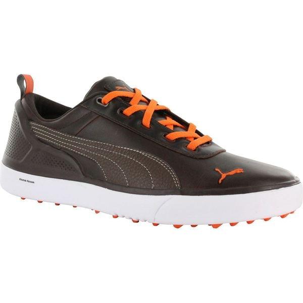 Puma mens Monolite Spikeless Black Coffee/ Vibrant Orange Golf Shoes 12489156