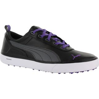 Puma Mens Monolite Spikeless Black/ Deep Lavender Golf Shoes