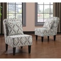 Portfolio Wylie Teal Ikat Upholstered Armless Chair (Set of 2)