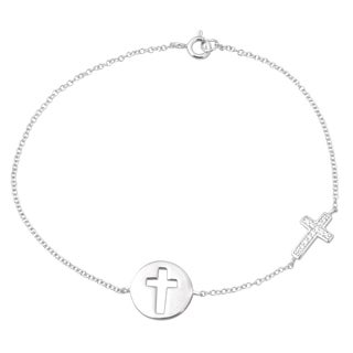 Tressa Collection Sterling Silver Cubic Zirconia Cutout Cross Bracelet