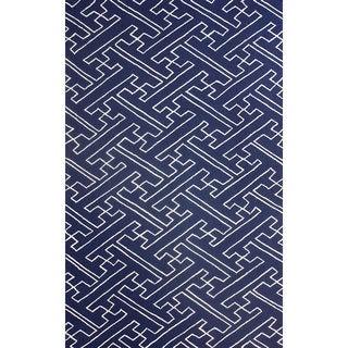 nuLOOM Hand-hooked Modern Byway Navy Rug (7'6 x 9'6)