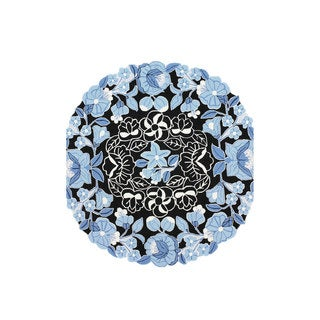 nuLOOM Hand-hooked Country Floral Blue Round Rug (6' x 6')