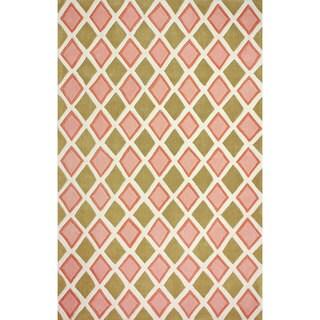 nuLOOM Hand-tufted Diamond Trellis Pink Rug (7'6 x 9'6)