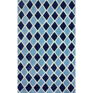 nuLOOM Hand-tufted Diamond Trellis Dark Blue Rug (7'6 x 9'6)