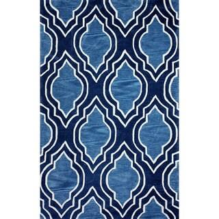 nuLOOM Handmade MoroccanTrellis Blue Rug (7'6 x 9'6)