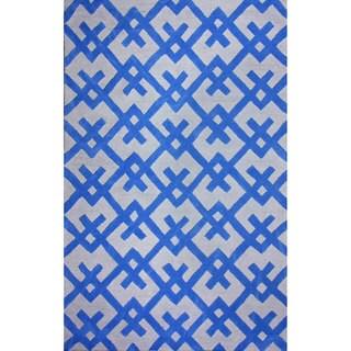 nuLOOM Hand-tufted Modern Indoor/ Outdoor Blue Rug (7'6 x 9'6)