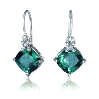 Sterling Silver Bali Faceted Green Quartz Dangle Earrings (Indonesia)