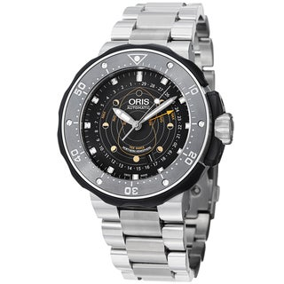 Oris Men's 'Moon pointer' Black Dial Titanium Bracelet Watch 761 7682 7154 RS