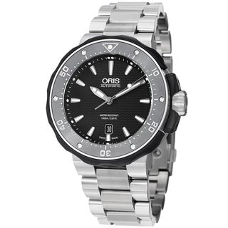 Oris Men's 733 7682 7154 MB 'Pro Divers' Black Dial Titanium Bracelet Watch
