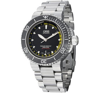 Oris Men's 'Aquis Depth Gauge' Black Dial Titanium Bracelet Watch 733 7675 4154 MB