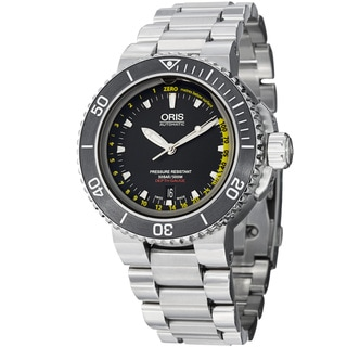 Oris Men's 733 7675 4154 MB 'Aquis Depth Gauge' Black Dial Titanium Bracelet Watch