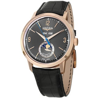 Vulcain Men's 580558.331L '50Presidents' Black Dial Moon Phase Rose Gold Watch