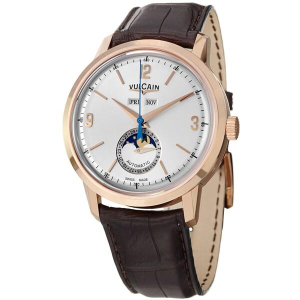 Vulcain Men's 580558.330L '50Presidents' Silver Dial Moon Phase Rose Gold Watch