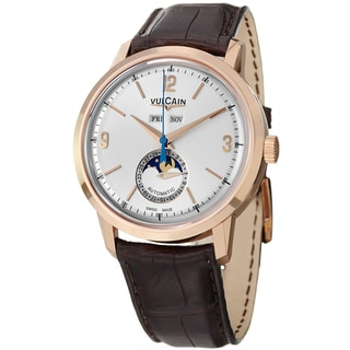 Vulcain Men's 580558.330L '50Presidents' Silver Dial Moon Phase Rose Gold Watch