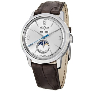 Vulcain Men's 580158.327L '50Presidents' Silver Dial Moon Phase Black Strap Watch