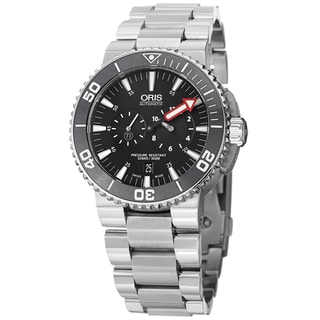 Oris Men's 749 7677 7154 MB 'Aquis' Black Dial Titanium Bracelet Watch